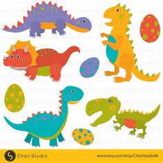 Cartoon dinosaur vector - Digital Clipart - Instant Download - EPS, PNG files included by ChenStudio88 on Etsy https://www.etsy.com/listing/253665210/cartoon-dinosaur-vector-digital-clipart
