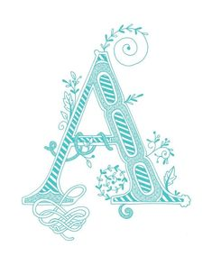 Hand drawn monogrammed print, 8x10, the Letter A, in the color blue