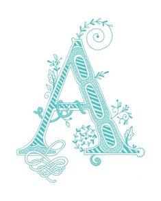 Dessiné de main monogrammé impression, 8 x 10, la lettre A, dans la couleur bleue