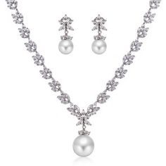 South Sea Shell Pearl CZ Bridal Necklace and Earrings