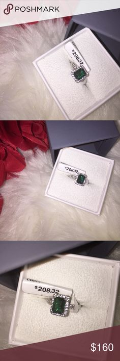 Emerald Ring Beautiful Emerald Ring with White Sapphire Diamonds surrounding! Size 7 and my hands swell too bad and have finally decided to sale🙈! It's my birthstone! Truly Beautiful! Jewelry Rings