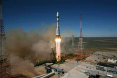 A Soyuz-2.1a rocket lifts off on April 19, 2013, with Bion-M No. 1. Image credit: Roskosmos. Note the reaction of the exhaust for the action of accelerating the spacecraft.