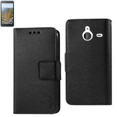 Reiko Wallet Case 3 In 1 For Nokia Lumia 640 Xl- Microsoft Lumia 640 XL Black With Interior Leather-Like & Polymer Cover