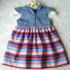 Blue denim red stripes and polka dots baby girl dress
