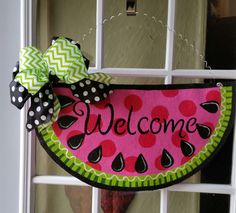 Sweet summer watermelon door hanger, Welcome sign, Hand painted burlap door hanger, pink polka dots, lime green accents, polka dot satin bow by ConnieRisleyCrafts on Etsy https://www.etsy.com/listing/227585734/sweet-summer-watermelon-door-hanger