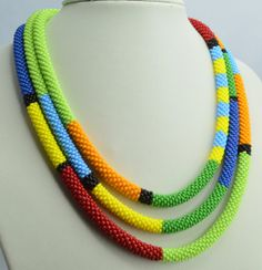 Necklace Beadwork Shiny Elegent Crochet Rope Necklace by Artlando, $70.00