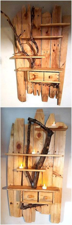 Pallet rustic shelf art is another functional project created by reusing useless wooden pallets. This craft is stunning in its look. Pallet rustic shelf art is not only an amazing piece of decoration but a wonderful product to give your home a new and fresh style.