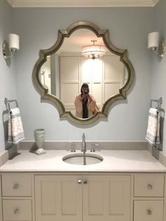 Guest bathroom - The New American Remodel - Orlando, Guest Bathrooms, Dream Bathrooms, Beautiful Bathrooms, Small Bathroom Furniture, Mirrored Furniture, Bathroom Ideas, Awesome Bedrooms, Interior Decorating, Decorating Ideas