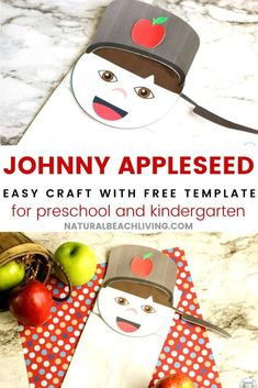 Johnny appleseed craft Preschool Apple Theme, Fall Preschool Activities, Apple Activities, Preschool Crafts, Paper Bag Crafts, Book Crafts, Paper Bag Puppets, Johnny Appleseed, Apple Seeds