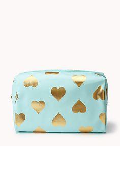 Metallic Heart Print Cosmetic Bag | FOREVER21 - 1057725192