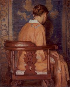 David Mueller The Orange Kimono Oil on Canvas 30 x 24 inches Back Painting, Figure Painting, Painting & Drawing, World Famous Paintings, Classical Realism, Orange Art, Painting People, Old Master, French Art