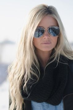 Sunglasses, blond wavy locks and a cush scarf - love this!
