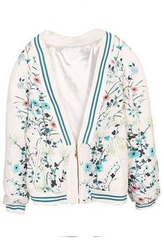 ROMWE | Contrast Trimming Floral Print Elastic White Jacket, The Latest Street Fashion
