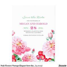 Pink Flowers Vintage Elegant Save the Date