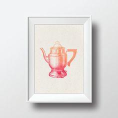 Watercolor Coffee Pot Vintage Illustration Printable by VNBDesigns