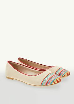 image of Tribal Embroidered Ballet Flats