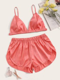 To find out about the Satin Bralette With Shorts Lingerie Set at SHEIN, part of our latest Sexy Lingerie ready to shop online today! Cute Sleepwear, Sleepwear Women, Lingerie Sleepwear, Nightwear, Sexy Lingerie, Pretty Lingerie, Women Lingerie, Lingerie Shorts, Satin Shorts