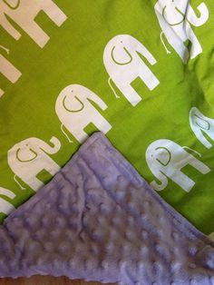 Green and White Elephant Stroller Blanket with lavender Minky dot