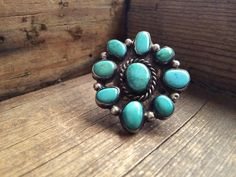Vintage large turquoise sterling silver women size 6 ring, Native American Indian turquoise jewelry, Old Pawn 9 stone turquoise cluster ring by romaarellano on Etsy https://www.etsy.com/listing/486887315/vintage-large-turquoise-sterling-silver