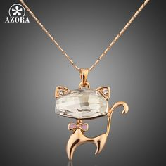 AZORA Gold Color Stellux Austrian Crystals Lovely Cat Pendant Necklace