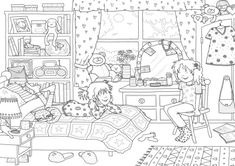 Claire Keay line drawing girl's bedroom.jpg