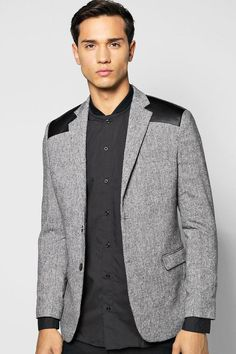 boohoo Slim Fit PU Patch Tweed Blazer