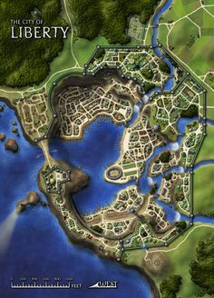 Port city map liberty