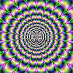 Wall Mural Psychedelic Pulse in Purple and Green
