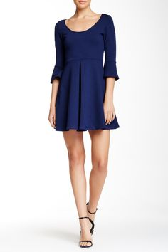 Bell Sleeve Pleated Front Ponte Dress by S.H.E. on @nordstrom_rack