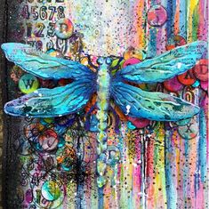 Kassa - Delight in the Detail: Simon Says Stamp New Challenge - Emboss It - 'distress paradise found' Dragonfly Painting, Dragonfly Wall Art, Butterfly Art, Butterflies, Alcohol Ink Painting, Alcohol Ink Art, Montage Photo, Insect Art, Art Journal Pages