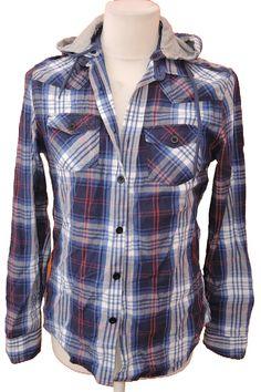 BRUMLA.CZ – Značkový dětský a dospělý second hand a outlet, použité oděvy pro děti a dospělé - Pánská modro-bílá kostkovaná košile s kapucí zn. River Island vel. S