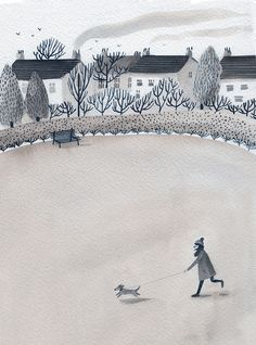 Dog walk - About Today - Illustration by Lizzy Stewart, illustration, drawing, winter, watercolour, design, painting