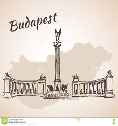 Hosok Tere - The Major Squares In Budapest, Hungary Stock Vector - Illustration of backgrounds, panoramic: 75517838 Scrapbook Journal, Travel Scrapbook, Budapest Travel, Building Sketch, Travel Maps, Budapest Hungary, Vintage Travel Posters, Cross Stitch Charts, Sketches