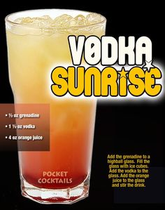 Vodka Sunrise Liquor Drinks, Vodka Drinks, Alcoholic Drinks, Beverages, Mixed Drinks Alcohol, Alcohol Drink Recipes, Cocktail Juice, Cocktails, Cocktail Recipes