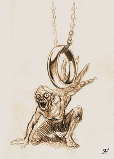 Gollum by TolmanCotton on DeviantArt Lord Of Rings, Lord Of The Rings Tattoo, Hobbit Art, O Hobbit, Inktober, Types Of Drawing Styles, Fantasy, Ring Sketch, Shadow Of Mordor