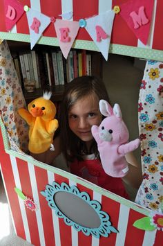 DIY Puppet Theater Tutorial! Make your own inexpensive puppet theater using Elmer's Tri-Fold Foam Display Board! Easy and fun for make believe play with the kids.