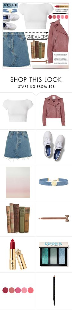 """""""White Sneakers"""" by nendeayesika ❤ liked on Polyvore featuring Helmut Lang, River Island, RE/DONE, Keds, Sandberg Furniture, Kenneth Jay Lane, John Lewis, Bobbi Brown Cosmetics, Kjaer Weis and Gucci"""