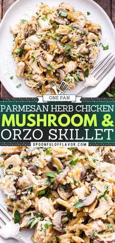 Orzo Recipes, Turkey Recipes, Easy Dinner Recipes, Chicken Recipes, Chicken Orzo, Mushroom Chicken, Italian Recipes, Italian Meals, One Pot Pasta