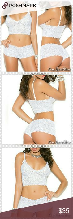 🆕White Lace Booty Shorts & Cami top Lingerie set 🆕Soft Stretch lace booty shorts with matching camisole top, beautifully embellished with cute satin bows. Shoulder straps are adjustable. These sets are super soft and beyond comfortable!   Size(s): S,M,L (see size chart pic above)  Color(s): This listing is for the White, Also available in Red,Royal Blue,and Black and in Plus sizes! Check out my other listings.  Material(s): 90% Nylon, 10% Elasthan Prices are firm unless bundled 💰Bundle to…