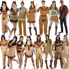 New Red Indian Fancy Dress Costume Squaw Sexy Native Womens Mens Wild West Adult