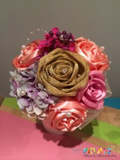 Unique Gold Dusky Pink and Peach Ribbon Roses by CuriousPetals, Ribbon Bouquet, Rose Bouquet, Roses, Peach, Trending Outfits, Unique Jewelry, Handmade Gifts, Pink, Gold