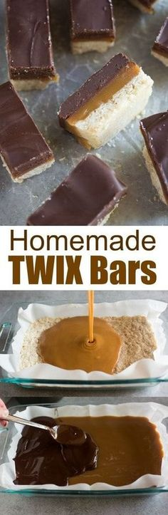 Homemade Twix Bars with layers of shortbread, homemade caramel, and melted chocolate. An irresistible copy-cat recipe of my favorite candy bar! #twix #candy #chocolate #caramel #shortbread #bars #cookies #dessert via @betrfromscratch