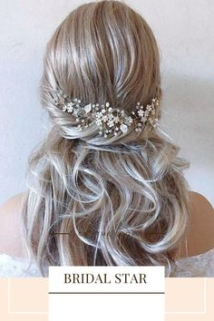 This Pin was discovered by Bridal Star wedding hair accessories. Discover (and save!) your own Pins on Pinterest. Bridal Hair Down, Bridal Hair Half Up, Bridal Hair Updo, Boho Wedding Hair, Wedding Hair Down, Bridal Hair Vine, Wedding Hairstyles For Long Hair, Hair Comb Wedding, Bridal Veils