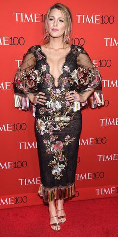 Blake Lively went for the more is more approach with her red carpet look for the 2017 Time 100 Gala. She wore a stunning gown with a plunging neckline, intricate floral embroidery, and rainbow fringe tassels. Leave it to Lively to keep it elegantly boho with orange and crystal drop earrings and a pair of sky high silver sandals.