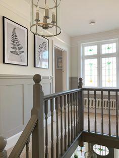 Grey Hallway, Upstairs Hallway, Stair Paneling, Panelling, Edwardian Hallway, Edwardian House, 1930s House, Hallway Designs, Hallway Ideas