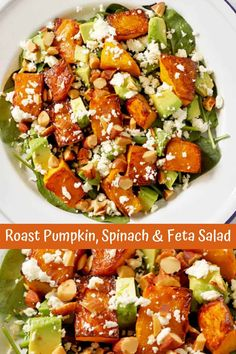 This Roast Pumpkin, Spinach and Feta Salad with Honey Balsamic Dressing is a bright and fresh antidote to bland and boring salads. It's great as a meal on its own or paired with some tasty barbecued meat as the perfect side dish. Pumpkin And Feta Salad, Spinach Feta Salad, Roast Pumpkin Salad, Couscous Salad, Chickpea Salad, Cucumber Salad, Bbq Salads, Summer Salads, Salads For Braai