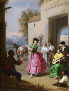 Manuel Cabral Aguado Bejarano. Jaleando a la puerta del cortijo, 1854. Colección Carmen Thyssen-Bornemisza en préstamo gratuito al Museo Carmen Thyssen Málaga