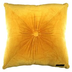 Our Fiona Velvet Cushion Gold will add a touch of glamour to any lounge, conservatory or bedroom. - Oversized velvet cushion - Vibrant soft and luxurious velvet with a ruched centre - Size 50cm x 50cm - 100% cotton velvet #yellowcushion #velvetcushion