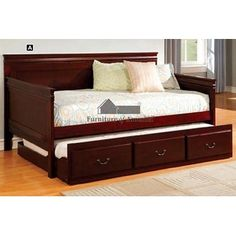 Savannah I Traditional Daybed with Twin Trundle in Dark Cherry Wood Finish- Furniture of america