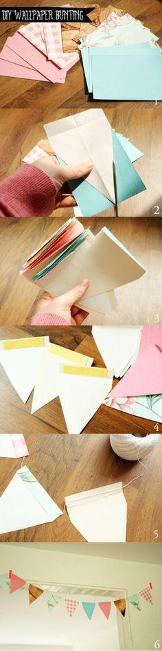 Como hacer guirnalda de banderines de papel (2)